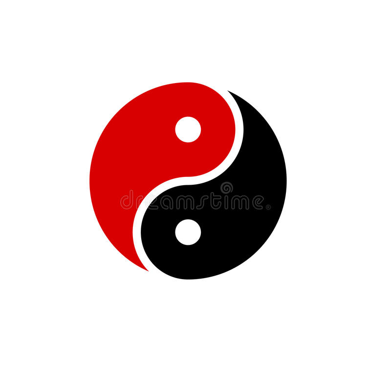 Yin yang icon vector harmony symbol red and black. Yin yang icon vector harmony symbol vector red and black vector illustration