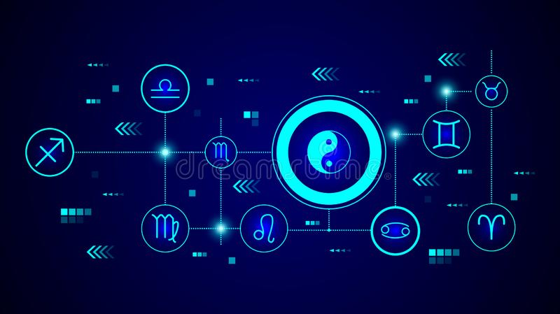 Yin Yang icon. From Web set. In the technological background royalty free illustration