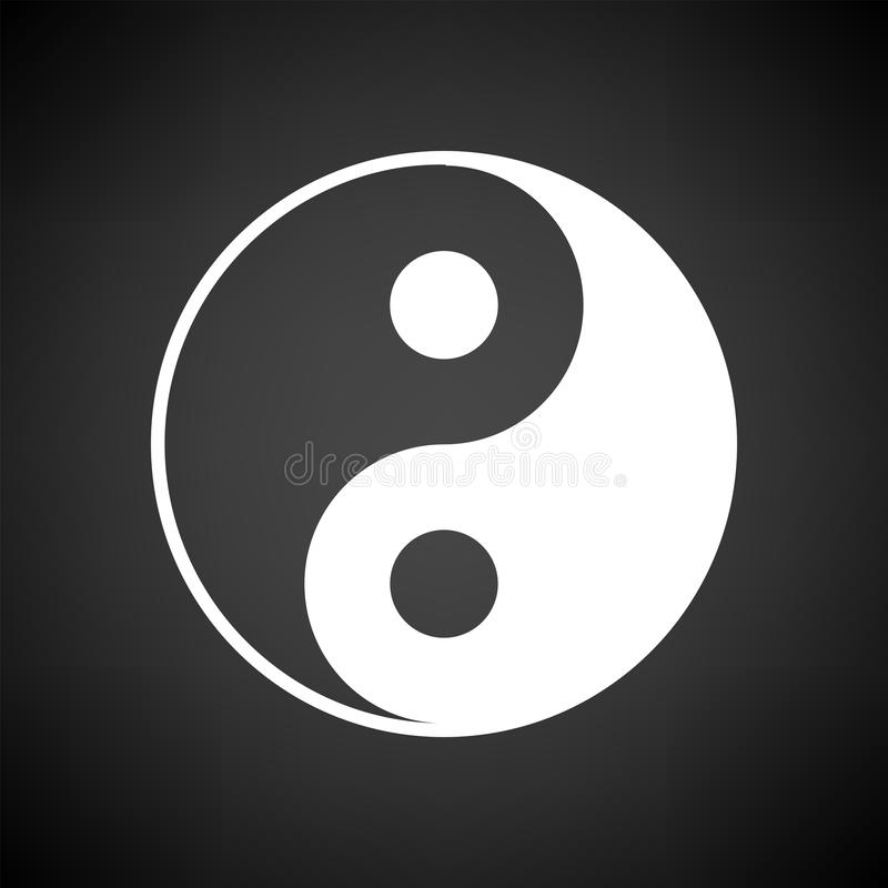 Yin And Yang Icon. White on Black Background. Vector Illustration vector illustration