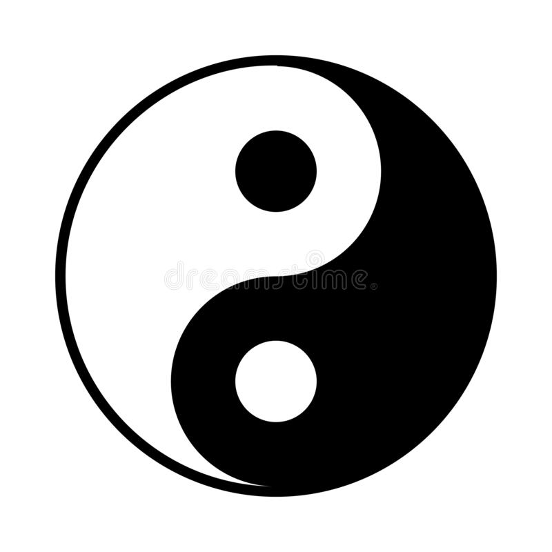 Yin And Yang Icon. Flat Color Design. Vector Illustration stock illustration