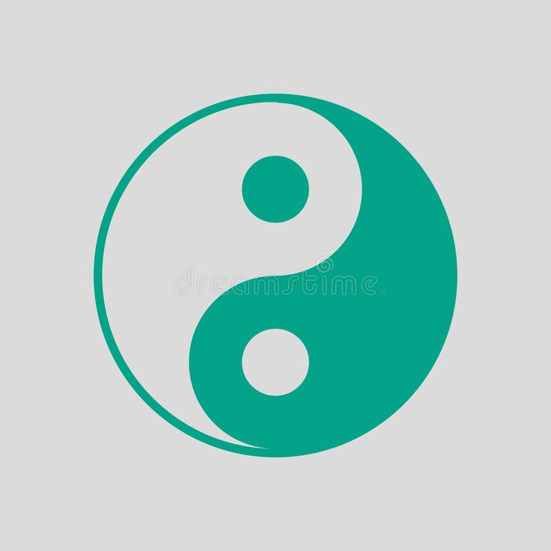 Yin And Yang Icon. Green on Gray Background. Vector Illustration stock illustration