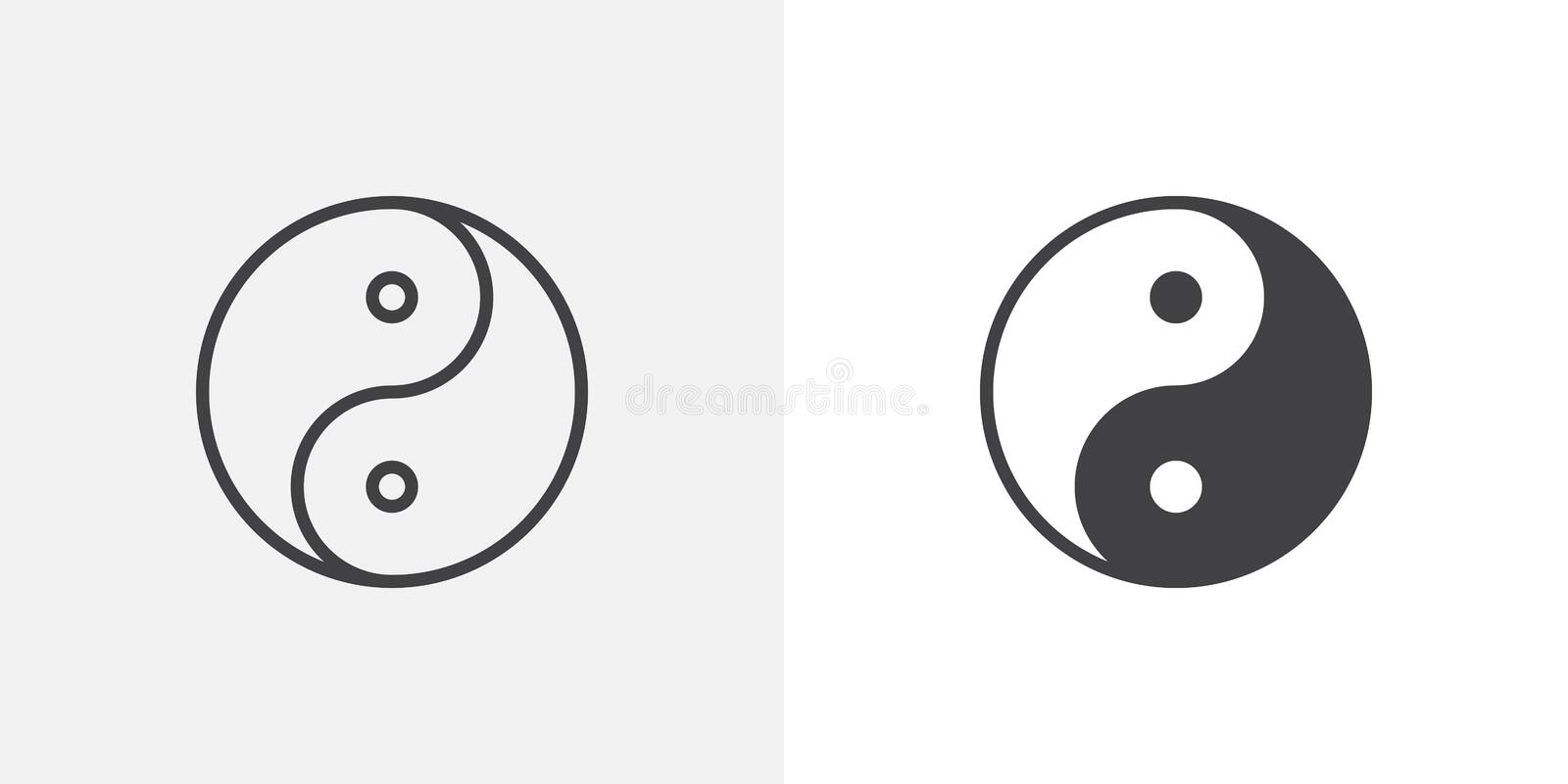 Yin yang icon. Line and glyph version, outline and filled vector sign. Zen linear and full pictogram. Symbol, logo illustration. Different style icons set stock illustration