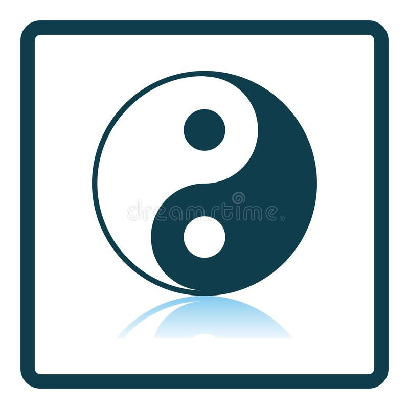 Yin And Yang Icon. Square Shadow Reflection Design. Vector Illustration stock illustration