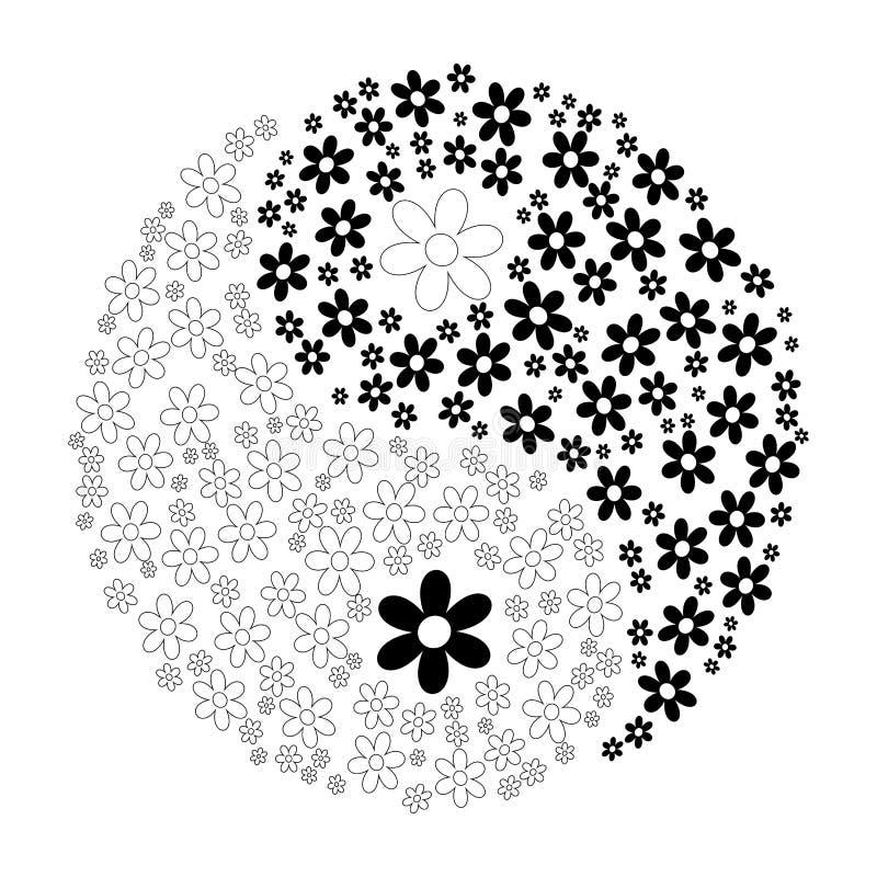 Yin Yang. Illustration with flowers stock illustration