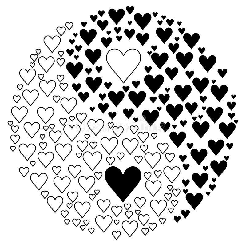 Yin Yang. Illustration with hearts royalty free illustration