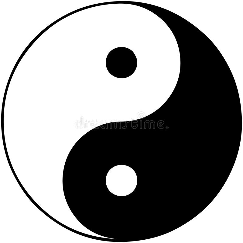 Yin Yang isolated in white. Yin Yang rustic texture on dirty background Ancient vector illustration