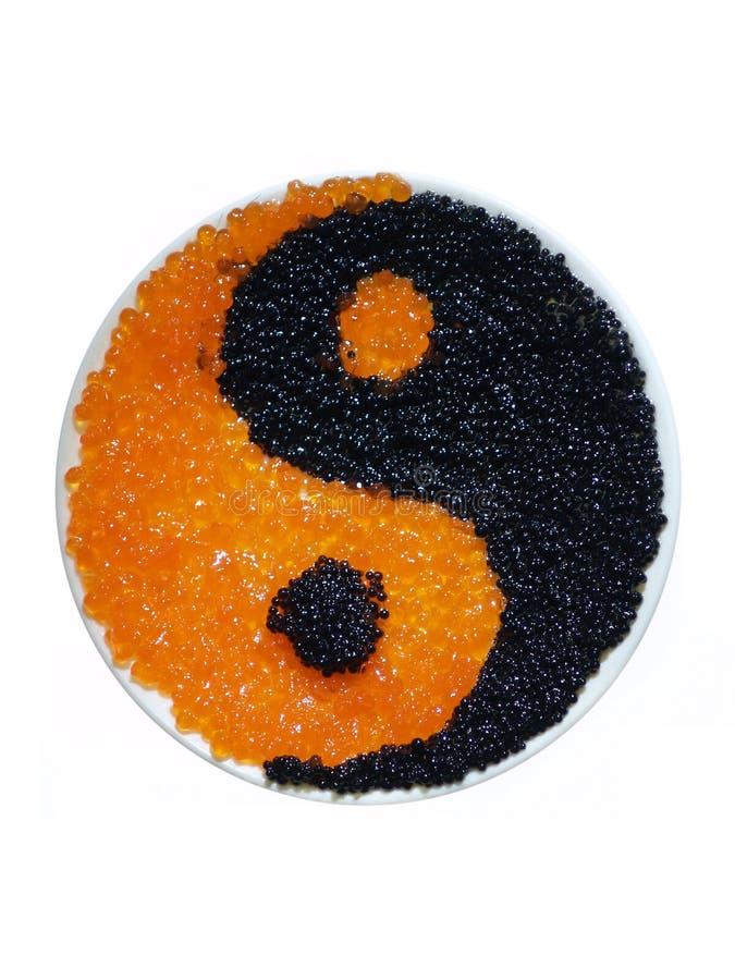 Yin Yang Kaviar lizenzfreie stockfotos