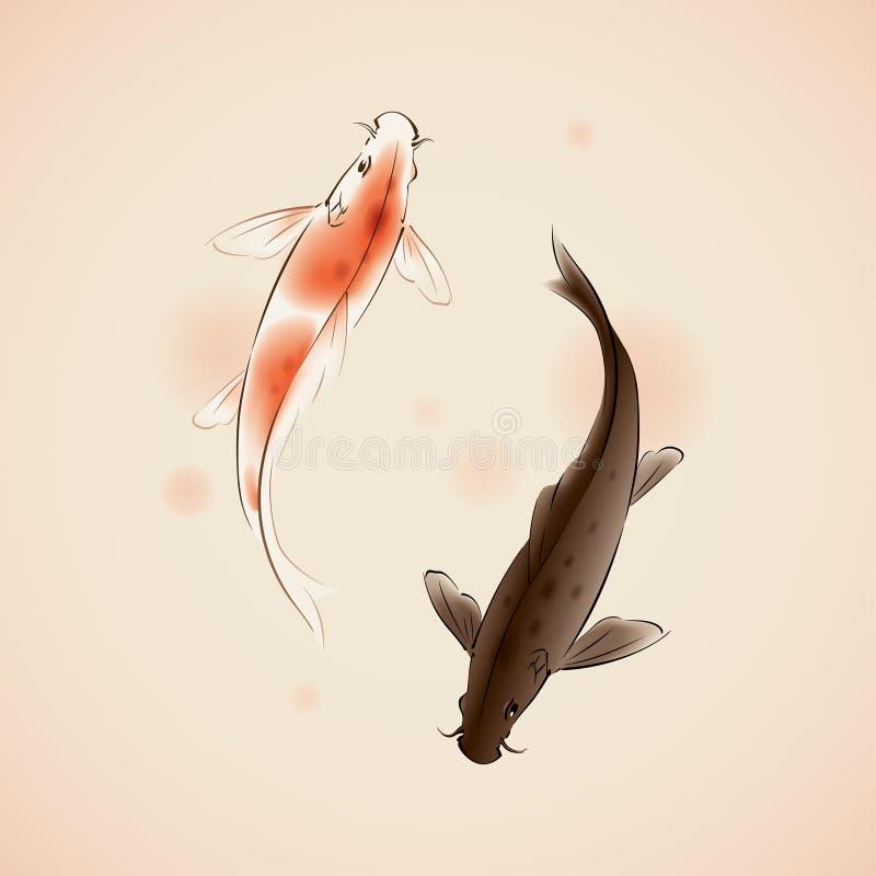 Yin Yang Koi pesca na pintura oriental do estilo ilustração royalty free