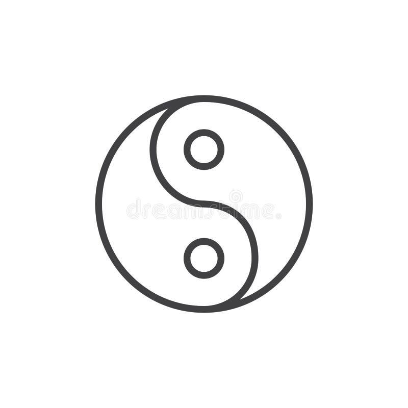 Yin Yang konturu ikona ilustracji