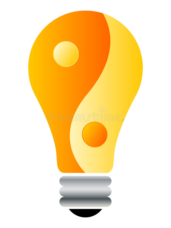 Yin-yang lightbulb. Isolated on white background vector illustration stock illustration
