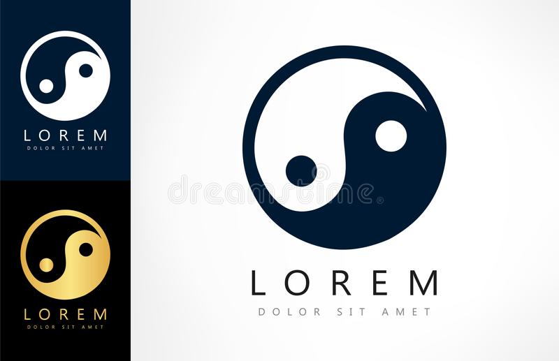 Yin Yang logovektor royaltyfri illustrationer