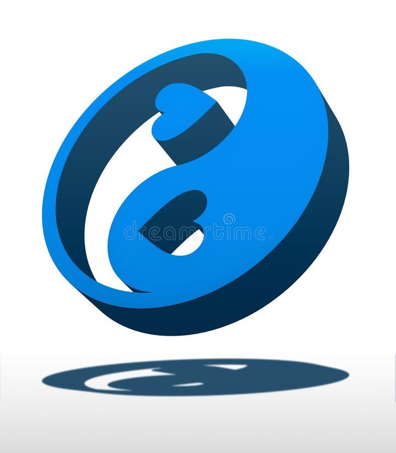 Yin Yang Love. Yin Yang symbol with hearts vector illustration