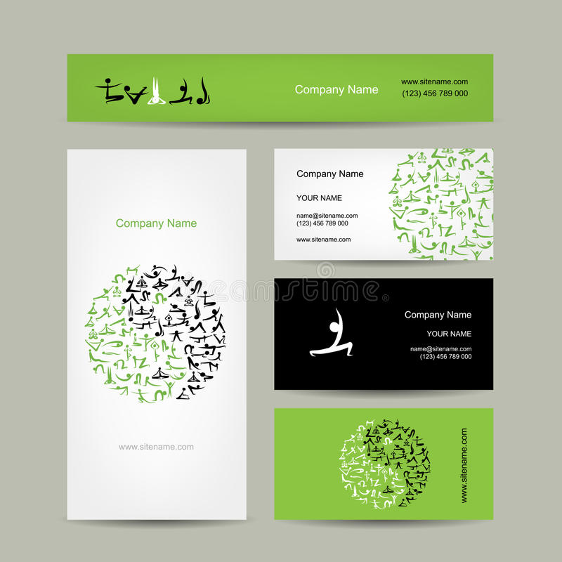 Yin Yang made from yoga asana. Set of business. Cards design. Vector illustration royalty free illustration