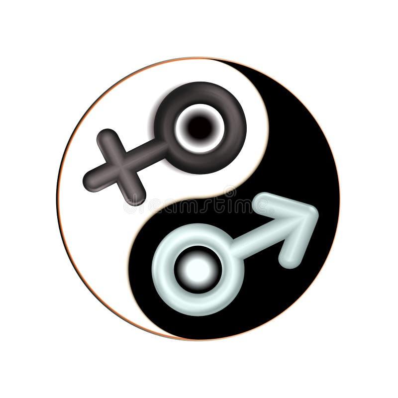 Yin and Yang male, female gender 3d symbol. Isolated mandala. Design spiritual adults relaxation. Black, white icon illustration. royalty free illustration