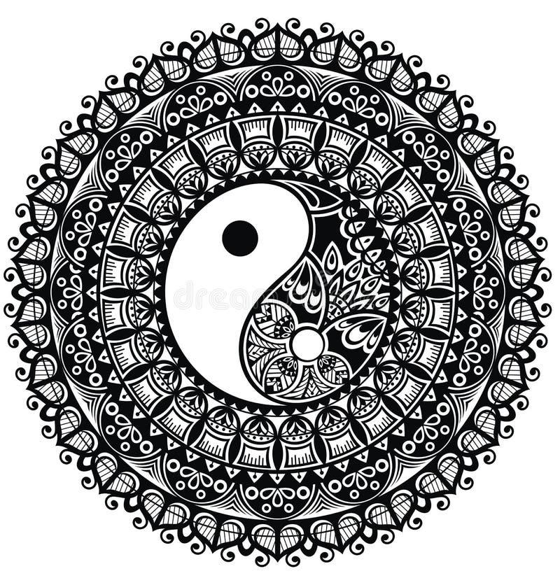 Yin Yang mandala royalty-vrije illustratie