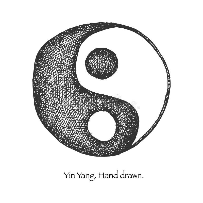 Yin yang. mano dibujada.  stock de ilustración
