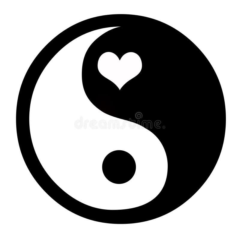 Yin Yang med hjärta royaltyfri fotografi