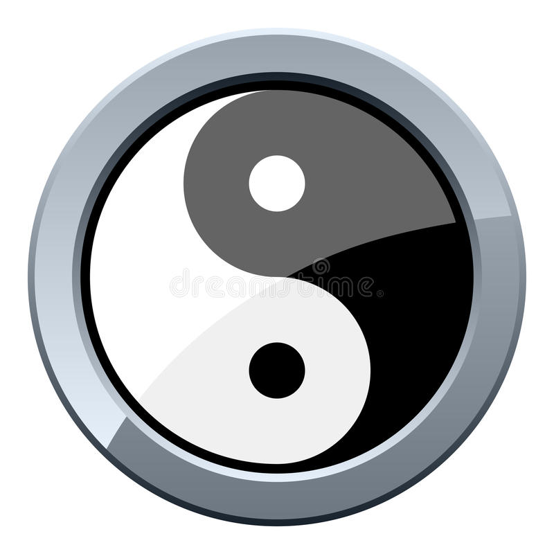 Yin and Yang Metal Button royalty free illustration