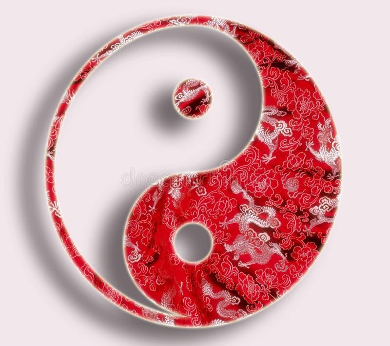Yin yang no vermelho ilustração royalty free