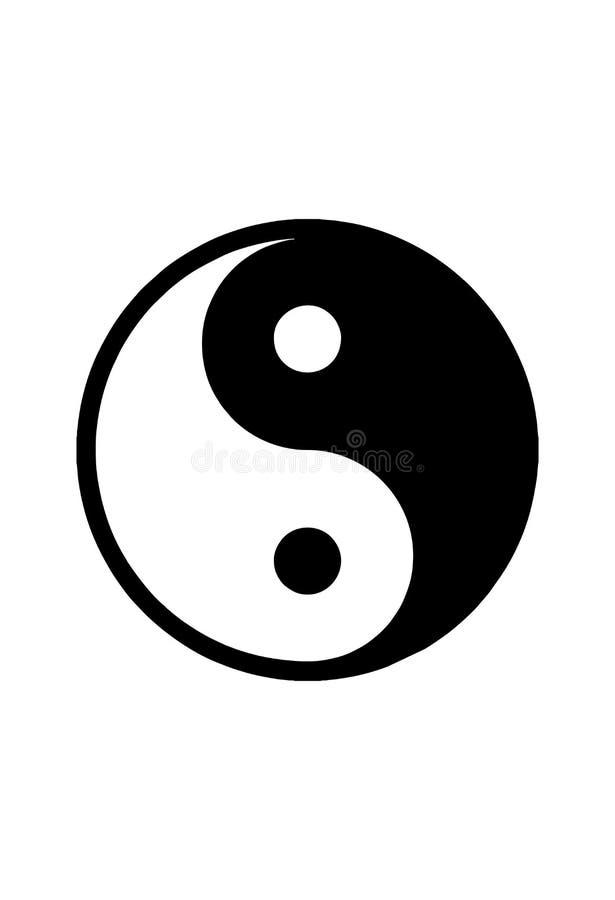 Yin Yang odizolowywający w białego tła wektorowej grafice obrazy royalty free
