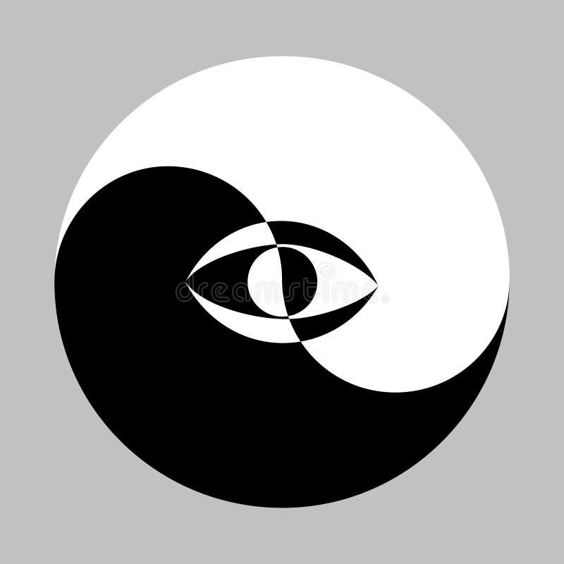 Yin Yang oko i symbol royalty ilustracja