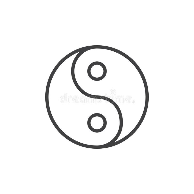 Yin yang outline icon. Linear style sign for mobile concept and web design. Religion simple line vector icon. Taoism symbol, logo illustration. Pixel perfect stock illustration