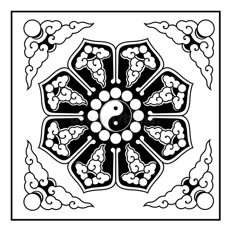 Yin Yang Pattern. A Yin-Yang pattern,the pattern often appear on the ceiling of the Chinese traditional architecture,especially the Taoist architecture.The yin stock illustration