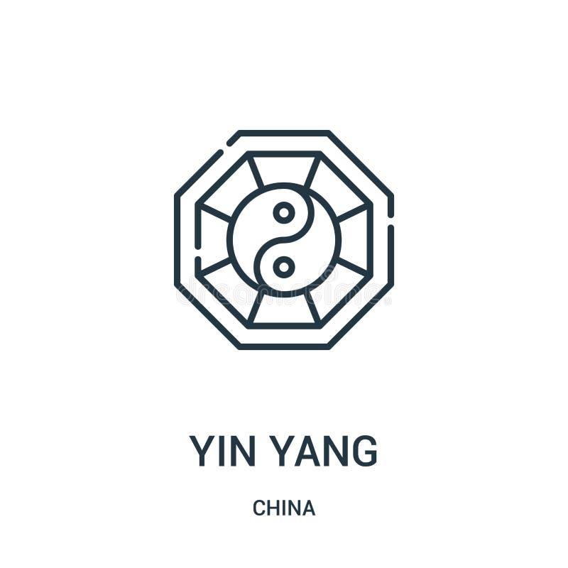 yin yang pictogramvector van de inzameling van China De dunne lijn yin yang schetst pictogram vectorillustratie Lineair symbool v royalty-vrije illustratie