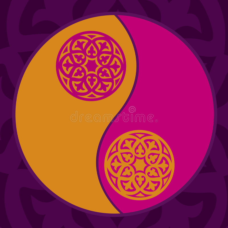 Yin-yang in pink. Yin-yang symbol in trendy colours royalty free illustration