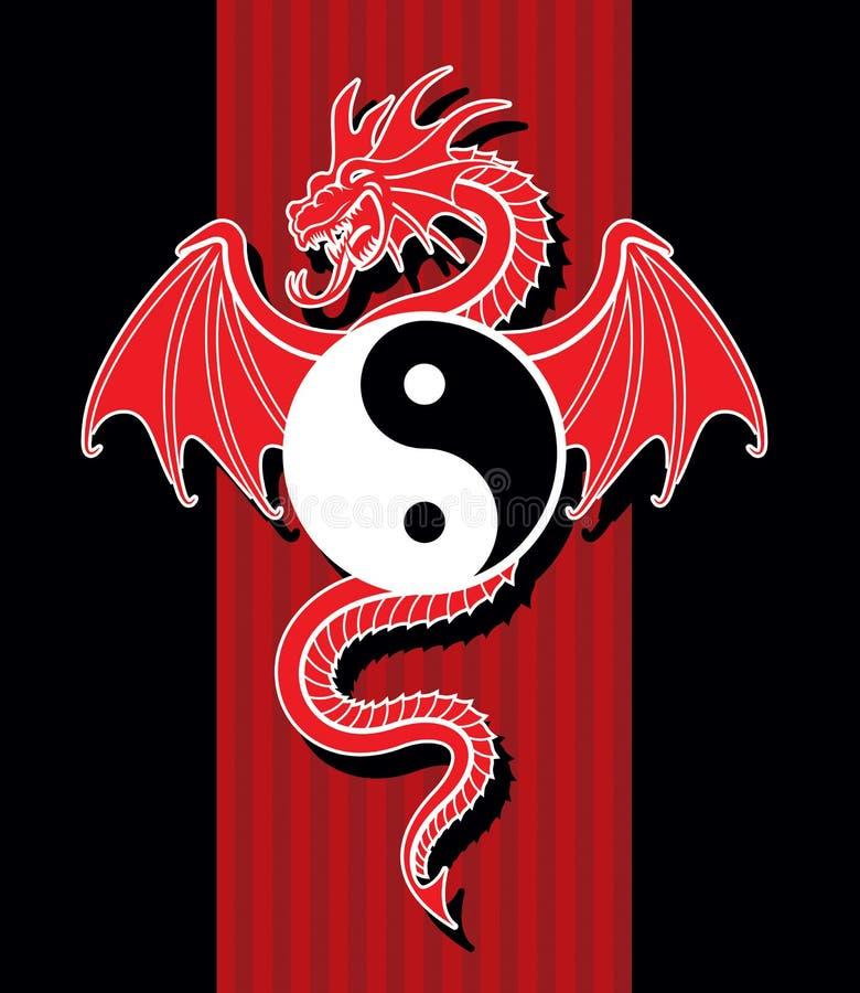 Yin Yang Red Dragon. Flying Red Dragon hanging Yin Yang symbol royalty free illustration