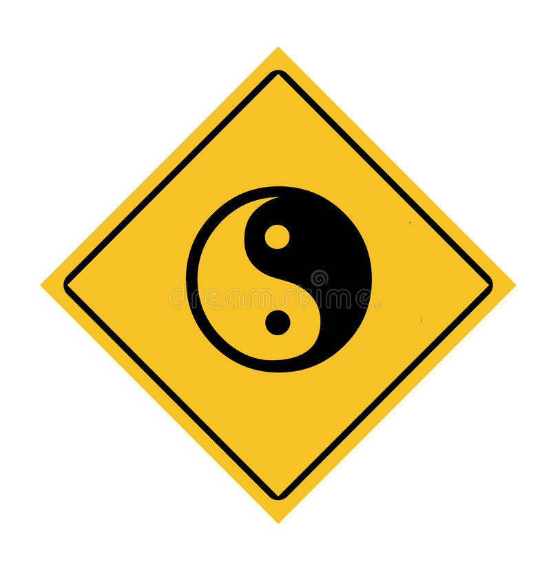 Yin and Yang road sign vector illustration