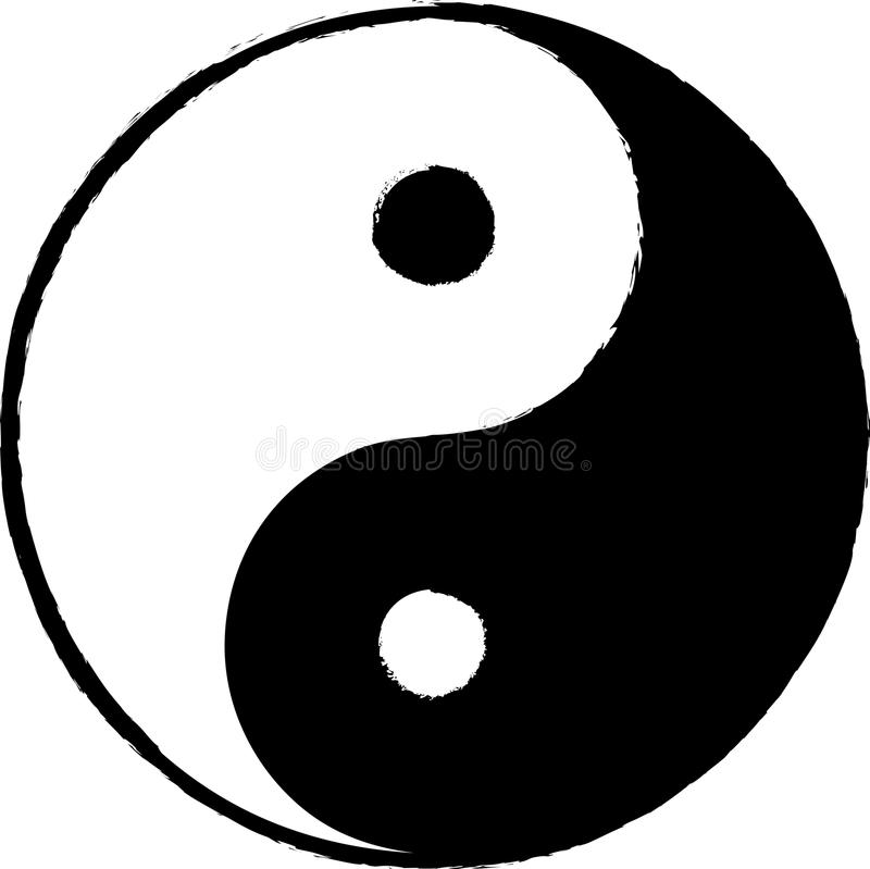 Yin Yang isolated in white vector illustration