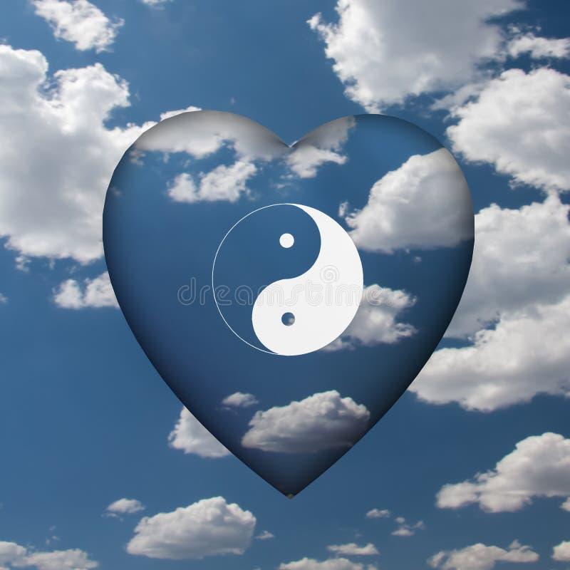 Yin Yang serce obrazy royalty free