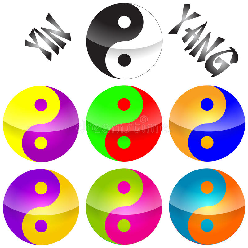 Yin yang. Seven colorful chines yin yang logo or illustration on the white background vector illustration