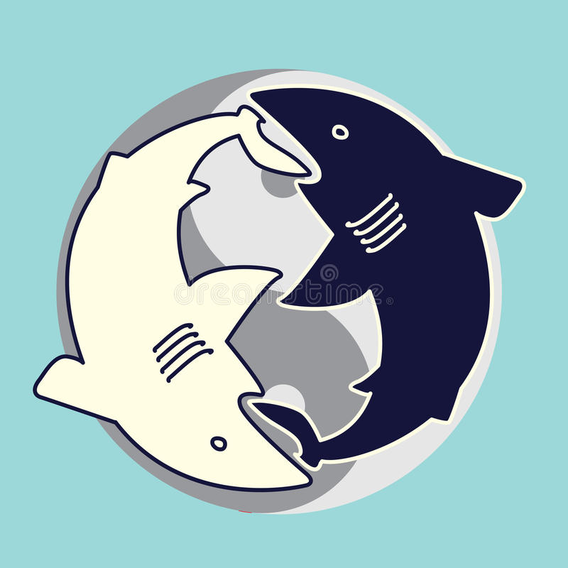 Yin yang sharks. Two sharks eating each other. Yin Yang concept royalty free illustration