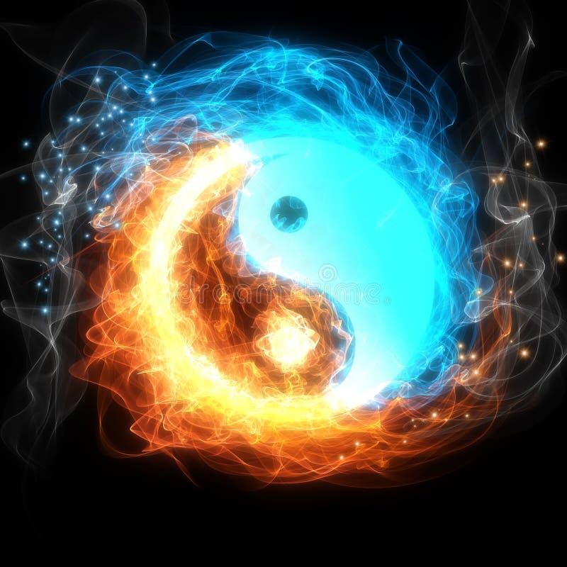 Yin yang sign. Yin-yang symbol, ice and fire vector illustration