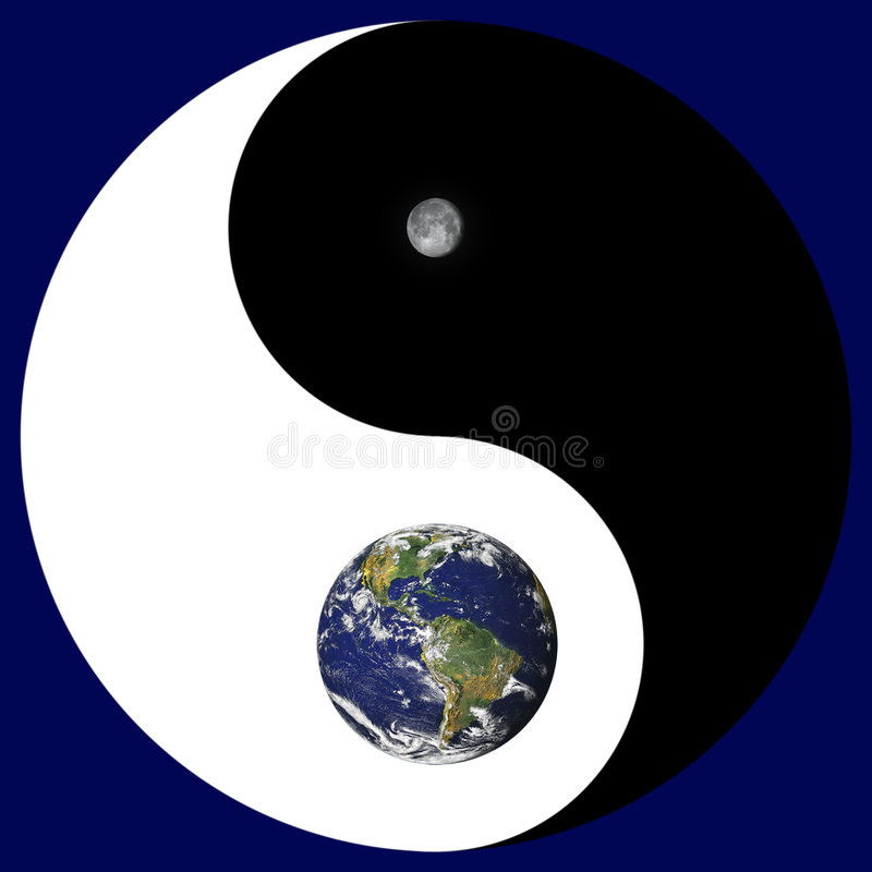 Yin Yang sign with earth/moon stock illustration