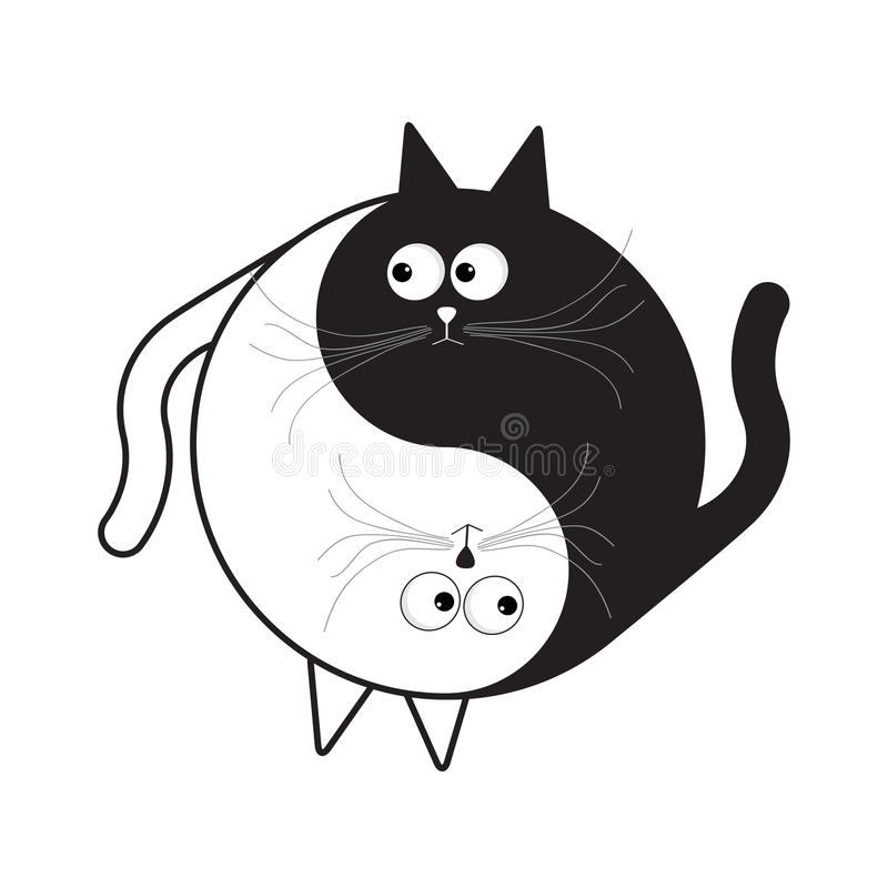 Yin Yang sign icon. White and black cute funny cartoon cat. Feng shui symbol. Flat design style vector illustration