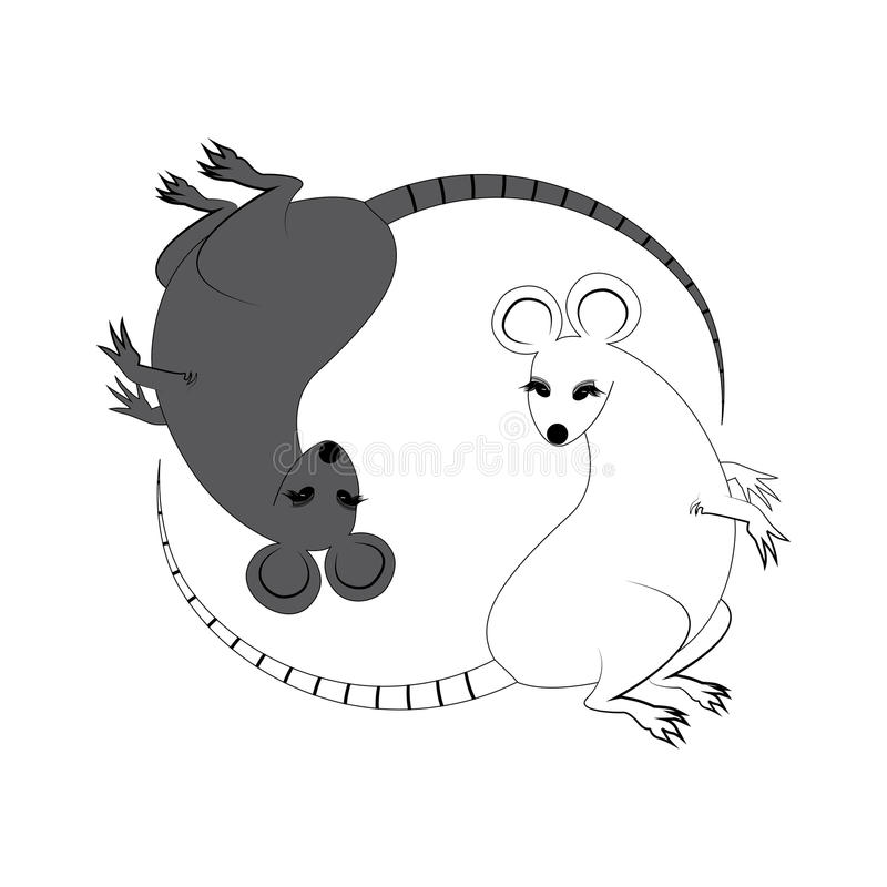 Yin Yang sign icon. White and black cute funny cartoon rat. Feng shui symbol. Flat design style. Vector illustration stock illustration