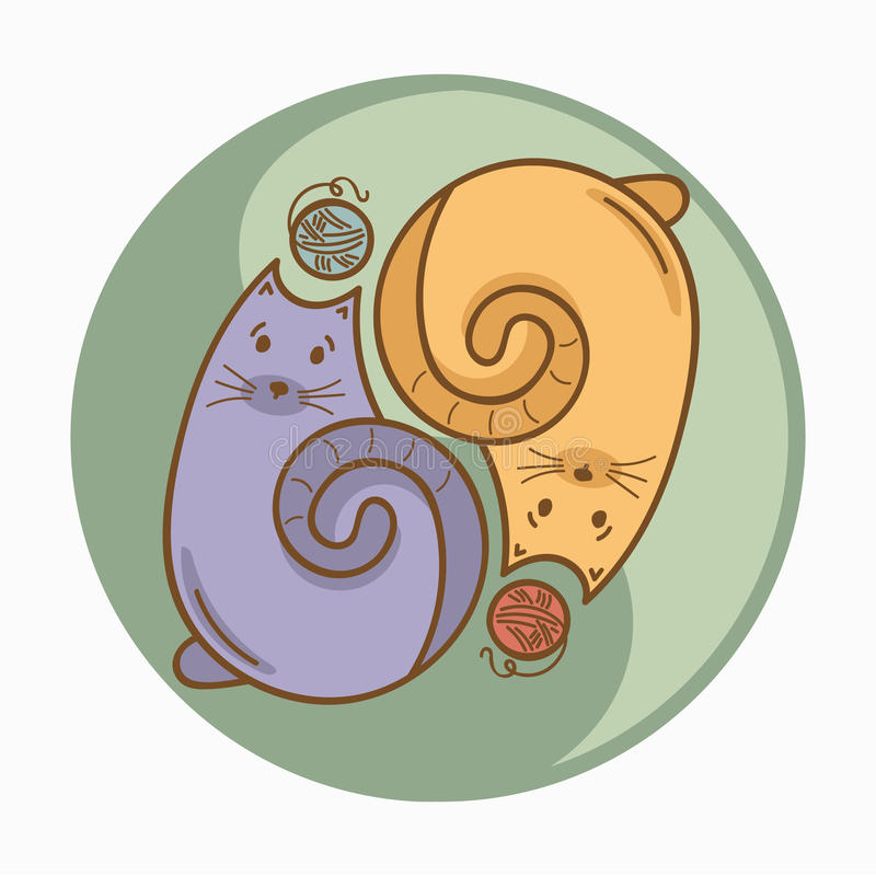 Yin-Yang sign or symbol with cats and wool thread bolls. Pastel colors. Cute and funny style. Vector concept illustration, t-shirt, bag or accessories print vector illustration