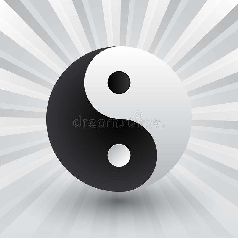 Yin yang. Simple style black and white stock illustration