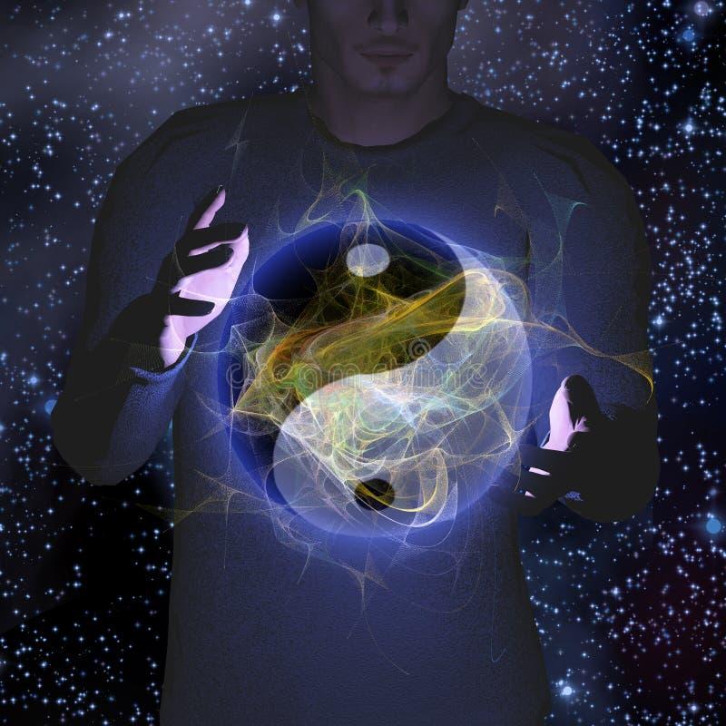 Yin Yang Star man. Man hovers Yin Yang Symbol with Energy All Around stock illustration