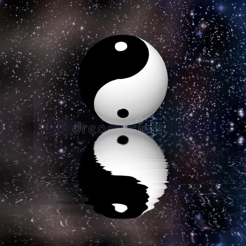 Yin Yang Stars Reflect royalty free illustration