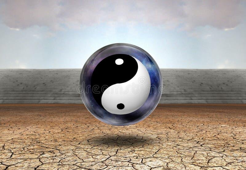 Yin-Yang. Surreal digital art. Yin-Yang inside space-bubble. Arid land vector illustration