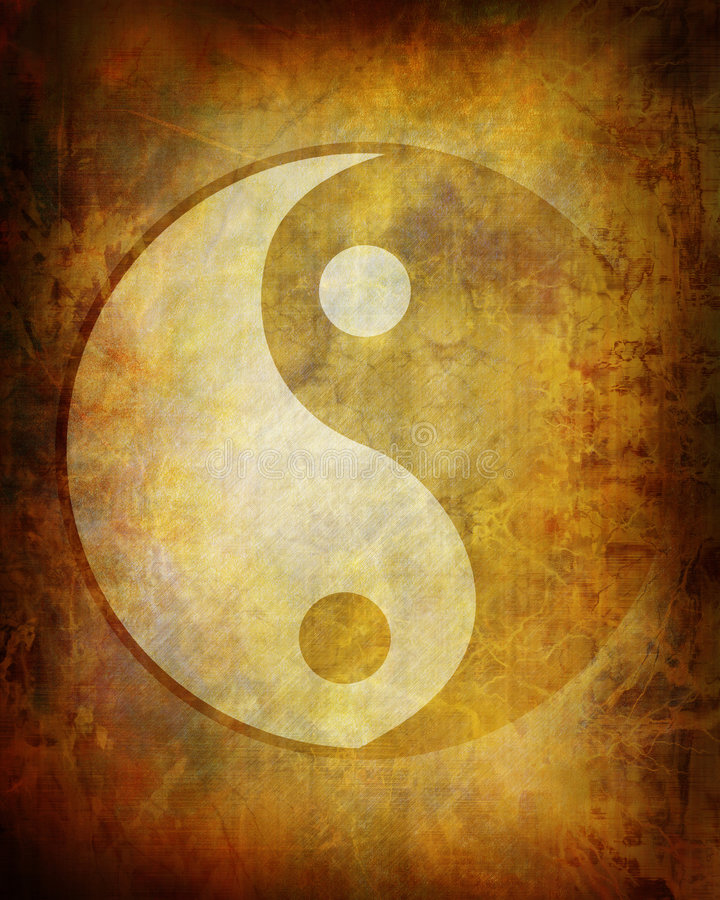 Yin yang symbol. On grunge background royalty free illustration
