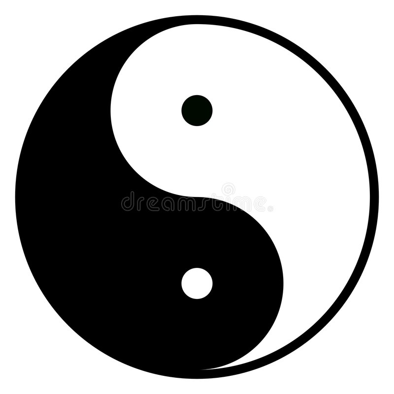 Yin-Yang Symbol. Of harmony, duality and opposite vector illustration