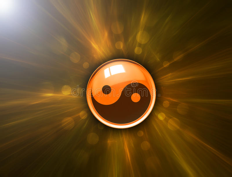 Yin Yang symbol on abstract background vector illustration