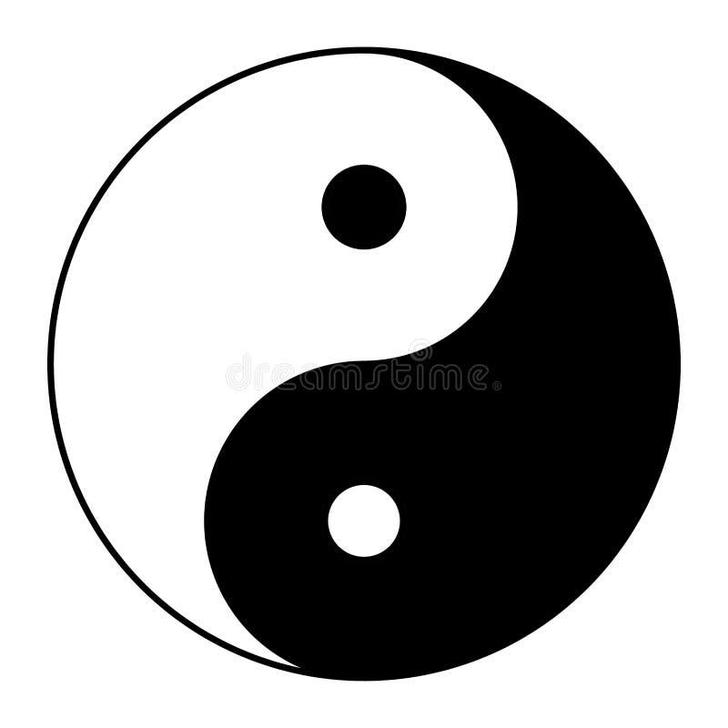 Yin yang symbol av harmoni och jämvikt Plan stilsymbol Svärta på bakgrundsvektor stock illustrationer