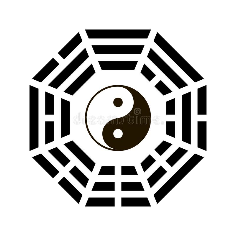 Yin and yang symbol with bagua arrangement. Clipart image isolated on white background stock illustration