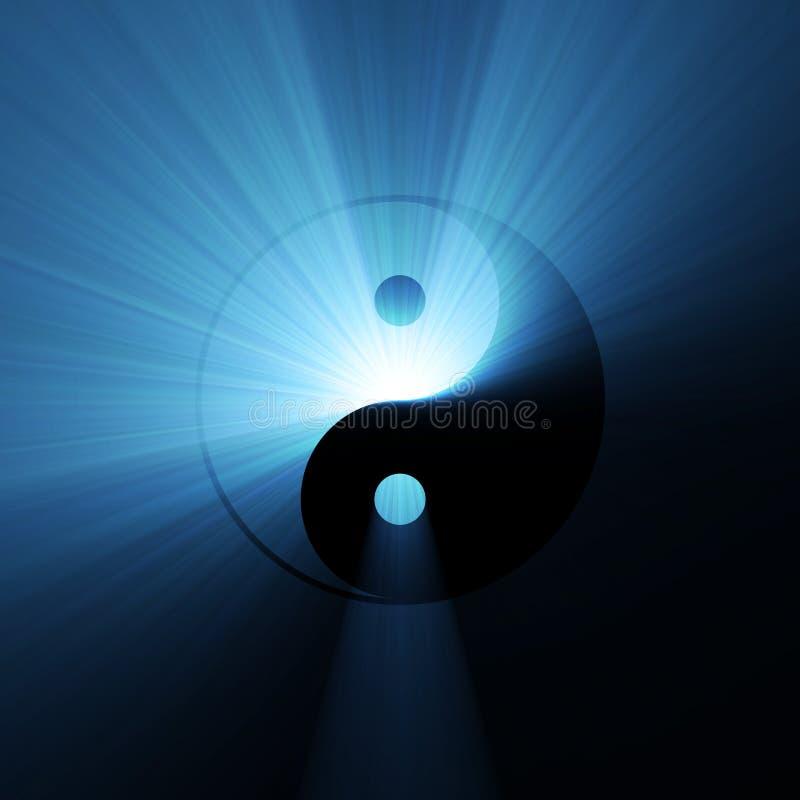 Yin Yang symbol blue light flare stock image